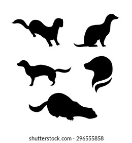 Mink vector silhouettes.