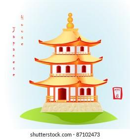 Minka. Traditional japanese house. Vector illustration