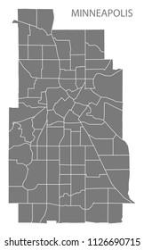 Minneapolis Minnesota city map with neighborhoods grey illustration silhouette shape