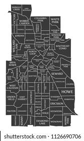 Minneapolis Minnesota city map USA labelled black illustration