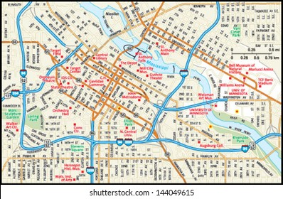 Minneapolis, Minnesota downtown map