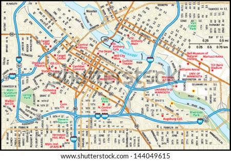 Minneapolis Minnesota Downtown Map Stock Vector (Royalty Free ...