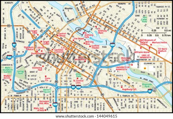 Minneapolis Minnesota Downtown Map Stock Vector (Royalty ... on north minneapolis map, minneapolis metro map, target center map, minneapolis street map, springfield minneapolis map, nicollet mall map, riverside minneapolis map, st. louis park map, minneapolis parking ramp map, uptown minneapolis map, minneapolis attraction map, target field map, minneapolis hotel map, southwest minneapolis map, warehouse district minneapolis map, mall of america map, airport minneapolis map, minneapolis suburbs map, northwest minneapolis map, minneapolis skyway system map,