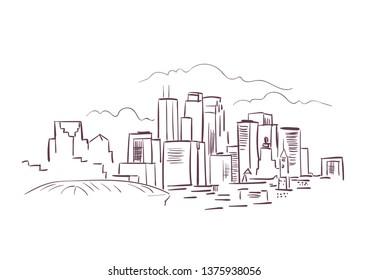 Minneapolis Minnesota usa America vector sketch city illustration line art