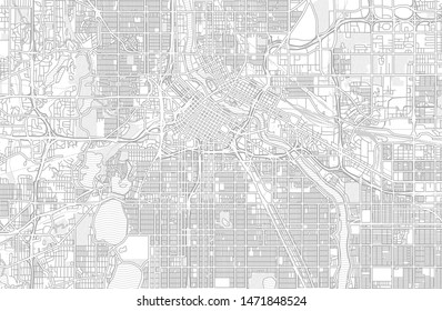 Minneapolis, Minnesota, USA, bright outlined vector map with bigger and minor roads and steets created for infographic backgrounds.