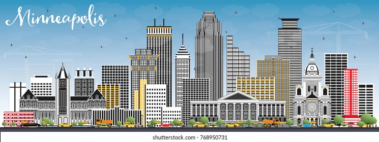 Minneapolis Minnesota USA Skyline with Color Buildings and Blue Sky. Vector Illustration. Business Travel and Tourism Concept with Modern Architecture.