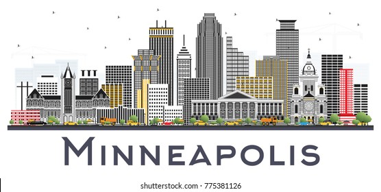 Minneapolis Minnesota USA Skyline with Color Buildings Isolated on White Background. Vector Illustration. Business Travel and Tourism Concept with Modern Architecture.