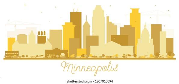 Minneapolis Minnesota USA Skyline Golden Silhouette. Vector Illustration. Simple Flat Concept for Tourism Presentation, Placard. Business Travel Concept. Minneapolis Cityscape with Landmarks.