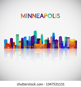 Minneapolis skyline silhouette in colorful geometric style. Symbol for your design. Vector illustration.