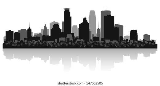 Minneapolis USA city skyline silhouette vector illustration