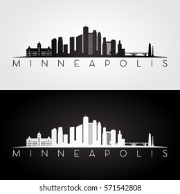Minneapolis USA skyline and landmarks silhouette, black and white design, vector illustration.