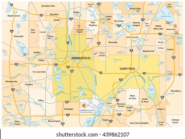 Minneapolis-Saint Paul road and administrative vector map