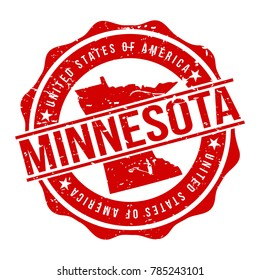 Minnesota America Original Stamp Design Vector Art Tourism Souvenir Round