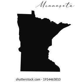 Minnesota black silhouette vector map. Editable high quality illustration of the American state of Minnesota simple map