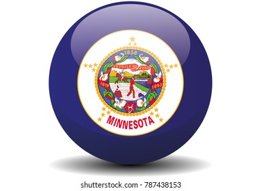 Minnesota circle button flag background texture. Vector illustration.