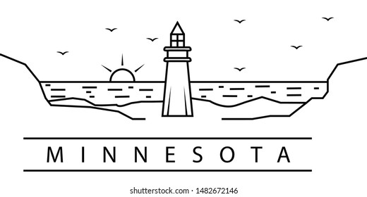 Minnesota city line icon. Element of USA states illustration icons. Signs, symbols can be used for web, logo, mobile app, UI, UX