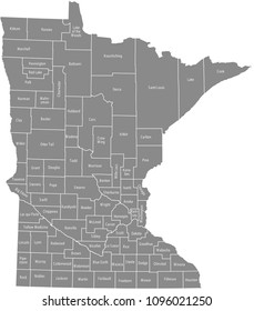 Minnesota county map vector outline gray background. Map of Minnesota state of USA with borders and names labeled