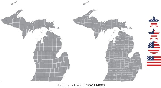 Minnesota county map vector outline in gray background. Minnesota state of USA map with counties names labeled and United States flag icon vector illustration designs