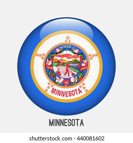 Minnesota flag in circle shape. Transparent,glossy,glass button