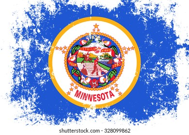 Minnesota grunge, old, scratched style state flag