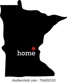 Minnesota home heart state vector illustration. White text over a black MN state graphic with a red heart.