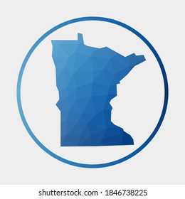 Minnesota icon. Polygonal map of the us state in gradient ring. Round low poly Minnesota sign. Vector illustration.