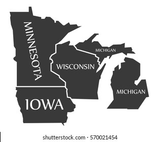 Minnesota - Iowa - Wisconsin - Michigan Map labelled black illustration