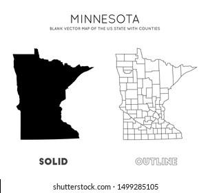 Minnesota map. Blank vector map of the Us State with counties. Borders of Minnesota for your infographic. Vector illustration.