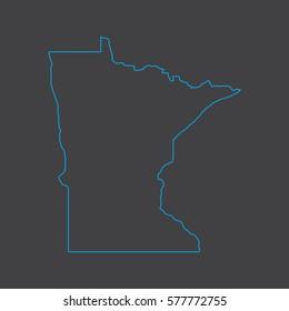Minnesota map blue outline stroke line style