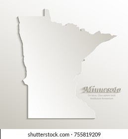 Minnesota map card paper 3D natural vector