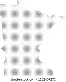 Minnesota map dots vector outline, dotted map, point patterns map faded gray background image art