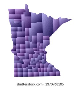 Minnesota map. Geometric style us state outline with counties. Classic violet vector illustration.