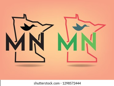 Minnesota Map logo design concept with common loon abstract, Vector EPS 10.