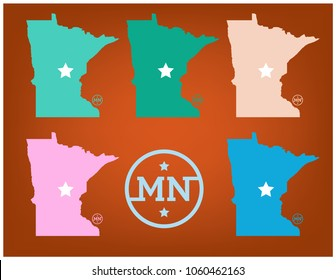 Minnesota Map with Nickname The Gopher State Vector EPS 10.