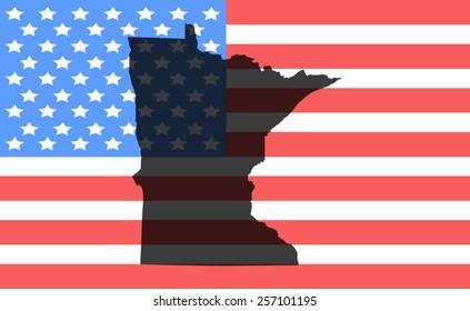 minnesota  map on a vintage american flag background