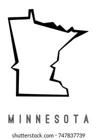 Minnesota map outline - US state shape sharp polygonal geometric style vector.