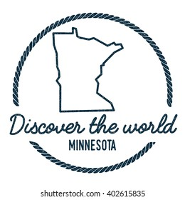 Minnesota Map Outline. Vintage Discover the World Rubber Stamp with Minnesota Map. Hipster Style Nautical Rubber Stamp, with Round Rope Border. USA State Map Vector Illustration.