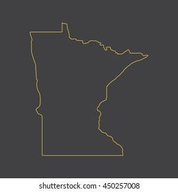 Minnesota map, outline,stroke,line style