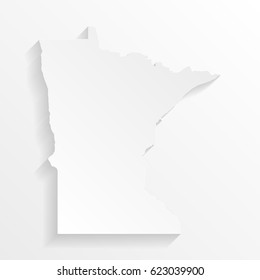Minnesota Map with shadow. Cut paper isolated on a white background. Vector illustration.