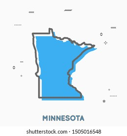 Minnesota map in thin line style. Minnesota infographic map icon with small thin line geometric figures. Minnesota state. Vector illustration linear modern concept