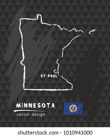 Minnesota map, vector pen drawing on black background
