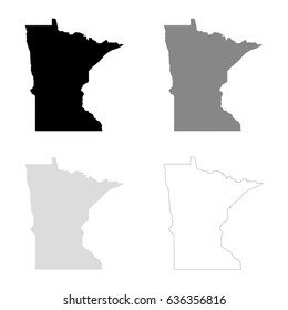 Minnesota maps in black, gray and line art. High detailed vector map, easy to edit.