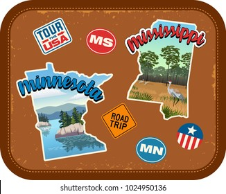 Minnesota, Mississippi travel stickers with scenic attractions and retro text on vintage suitcase background