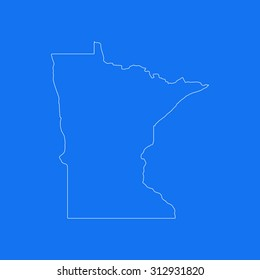 Minnesota outline map, stroke. Line style. White and blue. Vector EPS8