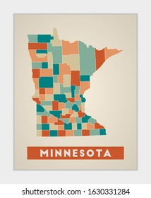 Minnesota poster. Map of the us state with colorful regions. Shape of Minnesota with us state name. Attractive vector illustration.