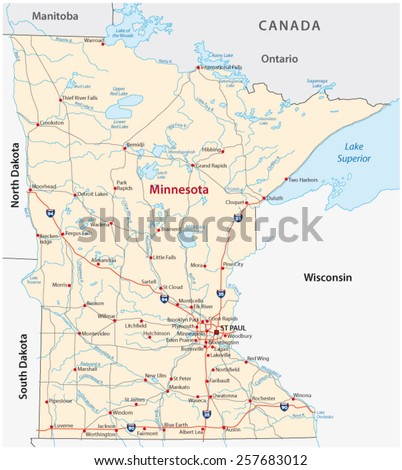 Minnesota Road Map Stock Vector (Royalty Free) 257683012 - Shutterstock