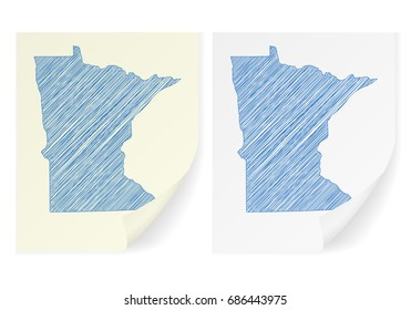Minnesota scribble map on a white background.