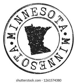 Minnesota Silhouette Postal Passport Stamp Round Vector Icon