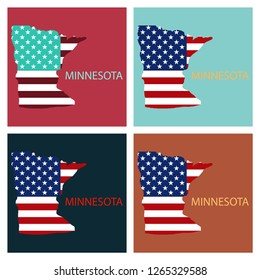 Minnesota state of America with map. Flag print on map of USA for geographic themes. Map of Minnesota state.