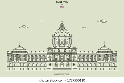 Minnesota State Capitol in Saint Paul, USA. Landmark icon in linear style